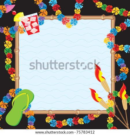 Hawaiian Pool Party Invitation. Colorful leis surrounded a bamboo framed pool - stock vector