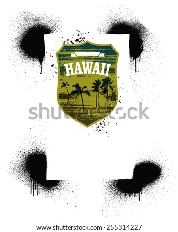 hawaiian summer shield with spray stencil background - stock vector