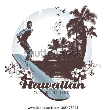 hawaiian surf scene with rider - stock vector