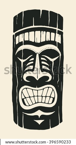 Hawaiian tiki statue mask. hand drawn design element. vector illustration - stock vector