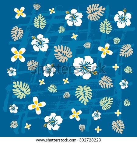 Hawaiian tropical flowers texture in blue tones - stock vector