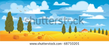 Haystack in yellow meadow on blue sky and green trees - stock vector