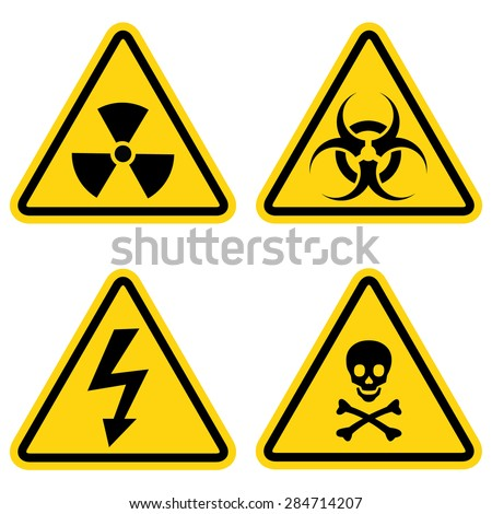 Hazard warning icon set  - stock vector