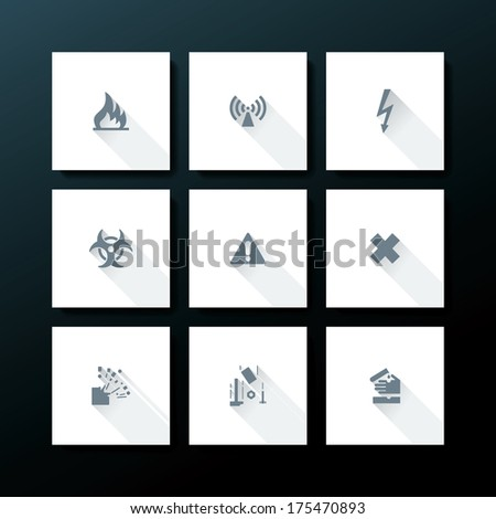 Hazard warning icon set - vector illustration - stock vector