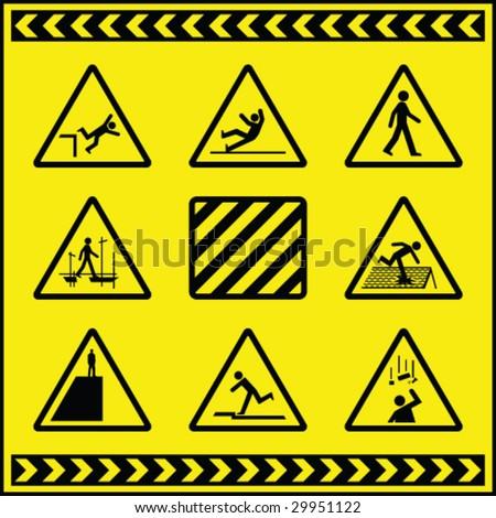 Hazard Warning Signs 4 - stock vector