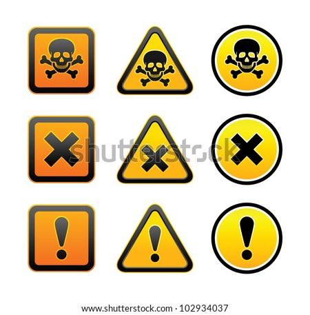Hazard warning symbols, set - stock vector