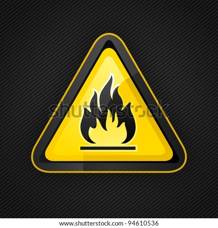 Hazard warning triangle highly flammable warning sign on a metal surface, 10eps - stock vector