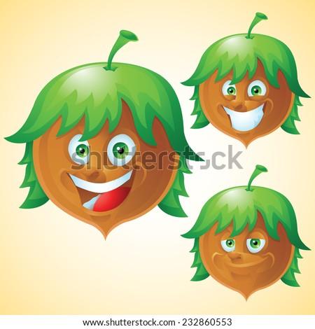 Hazelnut face expression cartoon character set - stock vector