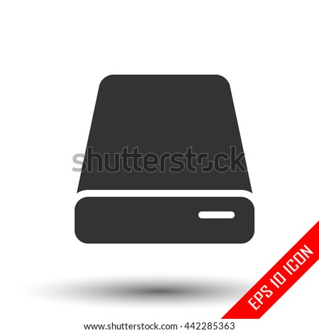 HDD icon. Simple flat logo of hard drive disk isolated on white background. Vector illustration. - stock vector