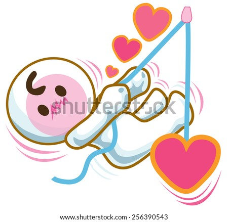 He in love and hanging pull heart show cartoon pantomime symbol design - stock vector