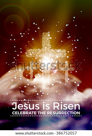 He is risen, vector Easter religious poster template with transparency and gradient mesh - stock vector