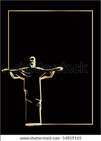 he vector iesus christ rio de janeiro statue silhouette - stock vector