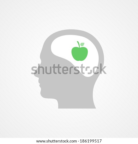 Head and apple - stock vector