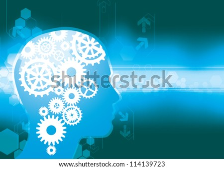 Head and Brain Gears in Progress - stock vector