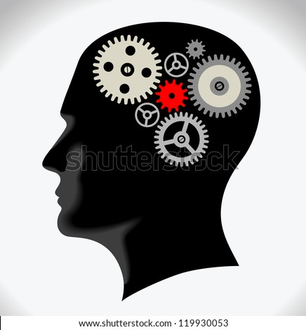 Head and Brain Gears in Progress. - stock vector