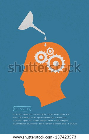 Head and Brain Gears in Progress.  , eps10 vector format - stock vector