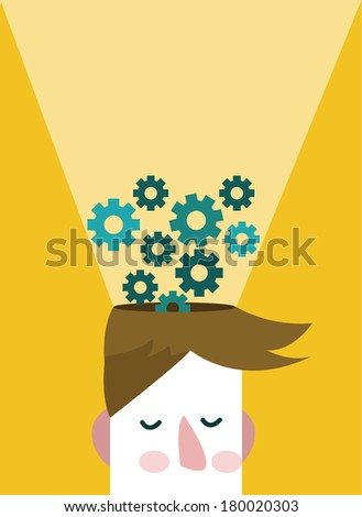 Head and Brain Gears in Progress. Human intelligence concept. vector - stock vector