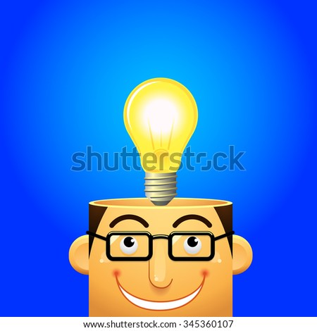 head and lamp - stock vector