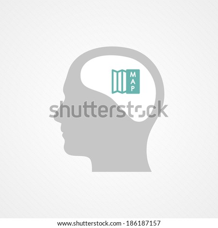 Head and map - stock vector