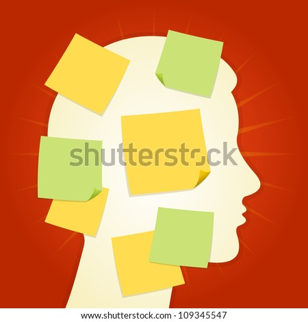 Head and paper stickers on Red - Head silhouette full of yellow and green memo notes - stock vector