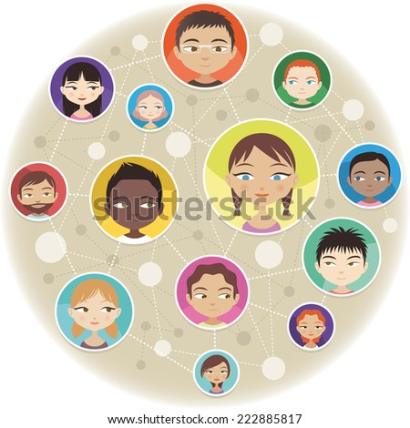 Head and Shoulder People Avatar Profile virtually Connected around the world - stock vector