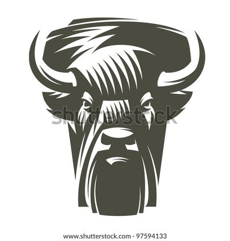 Head  buffalo - stock vector