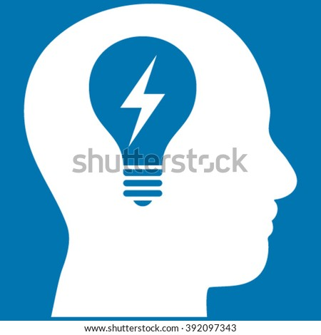 Head Bulb vector icon. Image style is flat head bulb pictogram symbol drawn with white color on a blue background. - stock vector