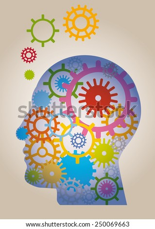 head formed by colorful gears - stock vector