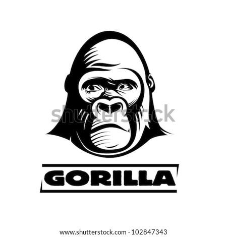 Head gorilla, engraving style illustration - stock vector