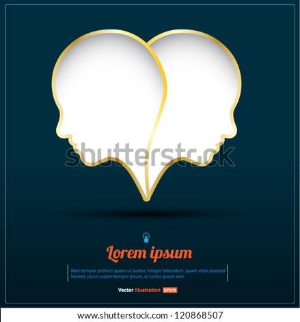 Head heart vector / love concept / business concept / Love idea / Love your business / love work/ - stock vector