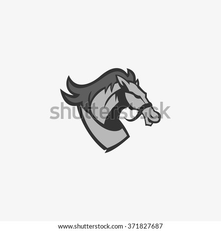 Head Horse Design Icon, Logo and Template. Silhouette horse Vector Illustration. - stock vector