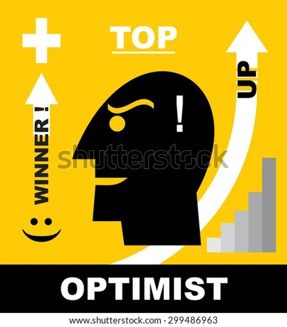 Head Icon of optimistic man / businessman. Simple flat icon about : confidence and  optimistic to be a winner. Icon to motivate to reach your dream. - stock vector