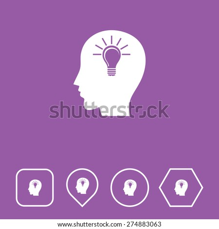 Head Icon on Flat UI Colors with Different Shapes. Eps-10. - stock vector
