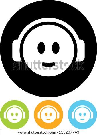 Head in Headphones - Vector icon isolated - stock vector