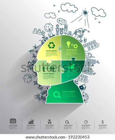 Head jigsaw banner with creative drawing environment ecology concept idea, Modern design template workflow layout, diagram, step up options, Vector illustration - stock vector