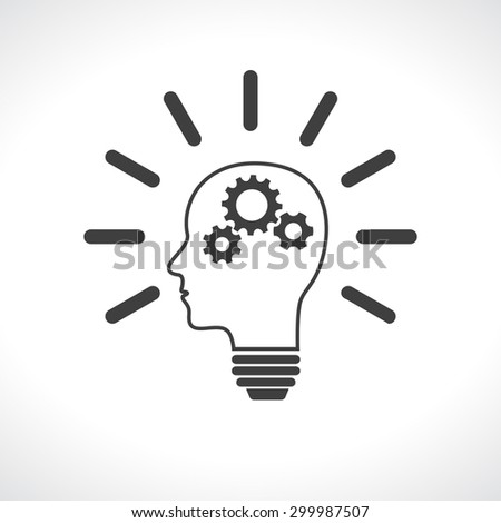 head lightbulb with gears teamwork - stock vector