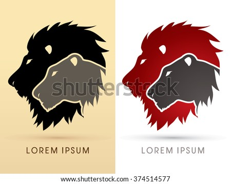 Head Lion and Lioness graphic vector. - stock vector