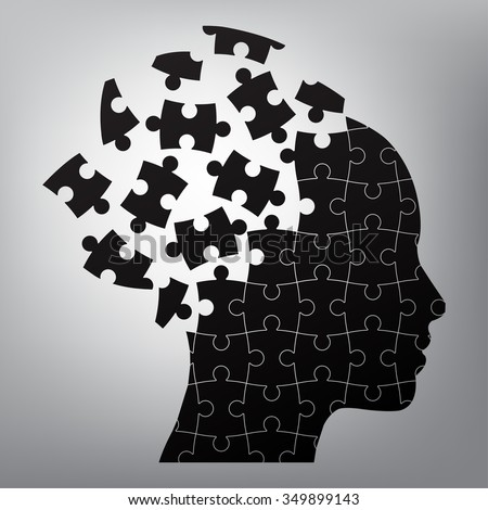 head man puzzles strategy. vector illustration - stock vector
