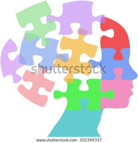 Head of a woman as mind thought problem jigsaw puzzle pieces - stock vector