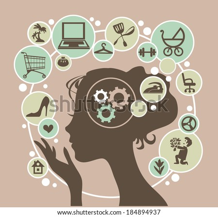 Head of a young modern woman and her thoughts. - stock vector