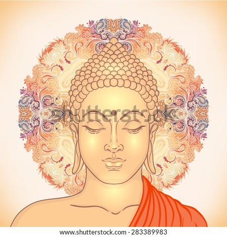 Head of Buddha. Vector illustration isolated over mandala - stock vector