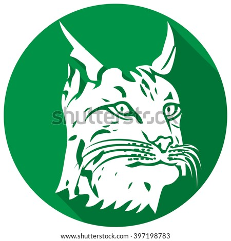 head of lynx flat icon (bobcat head) - stock vector