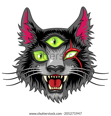 Head of scary fantasy cat with three green eyes - stock vector