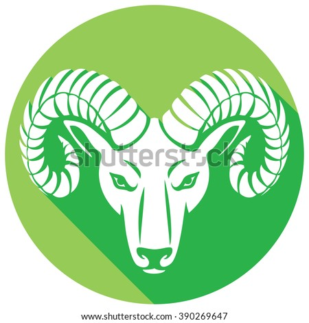 head of the ram flat icon  - stock vector