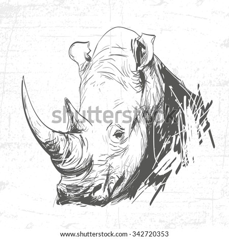 Head rhino in the art of engraving. See also other animals. - stock vector
