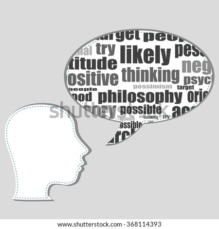 Head shape with marketing concept words isolated on white background. Vector file layered for easy manipulation and custom coloring. - stock vector