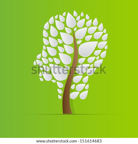 Head shaped tree,Vector - stock vector