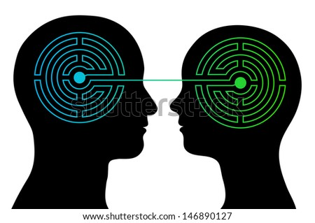 head silhouettes of a couple with a labyrinth inside their heads showing the complexity of the human brain and emotions with an interconnecting line between their heads, complex communication - stock vector