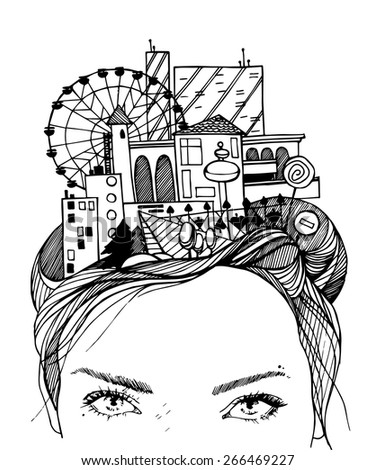 Head town Girl's head with town.This town is all her life,it's in her mind.Vector illustration EPS10 - stock vector