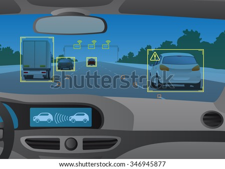 Head up display(HUD) and various information, vehicle interior, vector illustration - stock vector